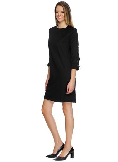 House Of Camellia Koldan Bağlamalı Kısa Elbise Siyah